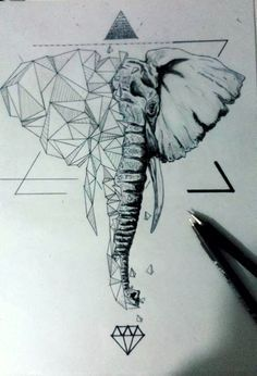 Image result for geometric elephant tattoo                                                                                                                                                                                 More