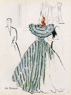 Maggy Rouff 1946 Blossac Evening Gown, Fashion Illustration