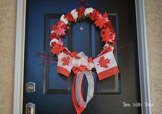 Today Is Canada Day! ~ Wreath made for Canada Day using red and white silk carnations, red foil maple leaves, Canadian flags and red and white sheer wire edge ribbon. Happy Birthday Canada, Happy Canada Day, Canada Day Party, Canada Holiday, Sola Wood Flowers, Thinking Day, Special Birthday, How To Make Wreaths, 4th Of July Wreath