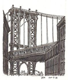 https://flic.kr/p/5C8amA | manhattan bridge | I took the Subway (and kept calling it the BART for some stupid reason) to Brooklyn, to DUMBO, and stood in the pissing rain between the Brooklyn and Manhattan Bridges. Raining so heavy I couldn't really draw, but I took a lot of great photos. I started to leave na dthen said, you know, I'll kick myself for not doing at least one drawing here, plus my friend Simon drew London in harder rain back in May, so I sat down on my stool and the rain…
