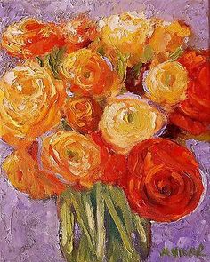 Mona Vivar Original Oil Orange Yellow Roses Flower Bouquet Impressionist Art
