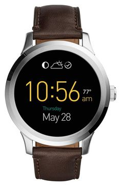 Fossil Fossil 'Fossil Q - Founder' Round Leather Strap Smart Watch, 46mm available at #Nordstrom