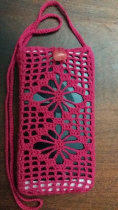 Celular Crochet Coin Purse, Crochet Cord, Crochet Purses, Crochet Baby, Crochet Cardigan Pattern, Crochet Flower Patterns, Crochet Designs, Crochet Phone Cover, Baby Boy Knitting Patterns