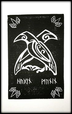 Items similar to Hugin & Munin Odin's Ravens Block Print on Etsy If you are into Norse Mythology or just like ravens, this is the print for you! I began learning of Norse Mythology because of Neil Gaiman (I loved American Gods! Norse Runes, Viking Symbols, Viking Art, Viking Runes, Mayan Symbols, Egyptian Symbols, Ancient Symbols, Odin Symbol, Tatto Viking