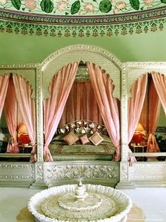 An Indian Summer: Traditional Indian Decor - Part 2. The pastel colors really make the details in the room pop.