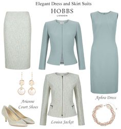 Hobbs blue green dress and skirt suits occasion shoes wedding accessories