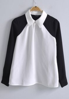 Black White Lapel Long Sleeve Buttons Chiffon Blouse