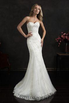 """Wedding dress Cloe - AmeliaSposa. Thanks to a rich finish with beads and Swarovski crystals this pure body-hugging silhouette looks unbelievably beautiful. Sophisticated cut of a mermaid """"tail"""" decorated with bead stitchwork and almost weightless laced court train create a modern queen look."""