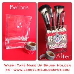 Washi Tape Make Up Brush Holder w/LeroyLime & LINKY PARTY #washitape #washi #makeup #brushes #diy