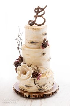 Hello 2016! And what better way to start the new year than with a rustic,  winter-themed New Year's Day wedding cake. Frosted berries, chocolate  pinecones (I'm sure they tasted amazing) and a stunning magnolia blossom  all came together to accent the three, hand-painted birch tree tiers. With