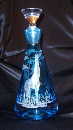 Decanter+Etched+glass+hand+carved+glass+giraffe+by+karenskarvings,+$140.00