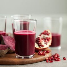 A sweet-tart combination of pomegranate, beets, red cabbage and ginger that will energize and invigorate you.