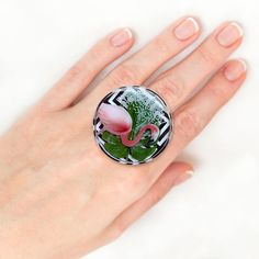 Items similar to Flamingo ring Bohemian ring Creative ring Romantic ring for girlfriend Wide ring Alternative ring Open ring Epoxy resin ring Dainty ring on Etsy Wedding Rings Vintage, Vintage Rings, Unique Rings, Unique Jewelry, Gemstone Rings, Tropical, Engagement Rings, Trending Outfits, Handmade Gifts