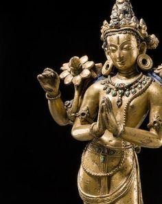 Avalokiteshvara A gilt copper alloy figure of Avalokiteshvara Nepal, Khasa Malla region, century Standing in a triple-flexed pose with four arms and inlaid jewelry. Buddha Buddhism, Buddha Art, Tibetan Buddhism, Nepal Art, Buddha Thoughts, Asian Sculptures, Tibetan Art, Nataraja, Guanyin