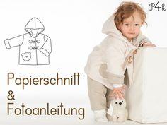 Papierschnitt Jacke Brio mit Kapuze und Knöpfen von pattern4kids auf DaWanda.com