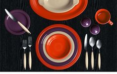 Check out my Colorama by Fiesta customized table setting! Poppy, Plum, Ivory