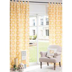Rideau à œillets en coton jaune 105 x 250 cm BELEM   Maisons du Monde