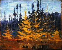 Spruce and Tamarack, Fall 1916 Group Of Seven Artists, Group Of Seven Paintings, Emily Carr, Canadian Painters, Canadian Artists, Abstract Landscape, Landscape Paintings, Tom Thomson Paintings, Munier