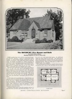 Sears Roxbury Similar to the Wilmore and the Jewel English Architecture, Vintage Architecture, Historical Architecture, Architecture Plan, Vintage House Plans, Modern House Plans, Small House Plans, House Floor Plans, English Tudor Homes