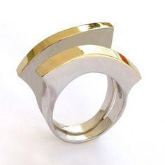 Arosha - Sterling Silver Gold Ring