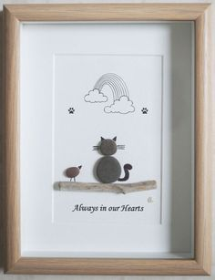 Pebble Art framed Picture Cat Always in our Hearts by Jewlls4u