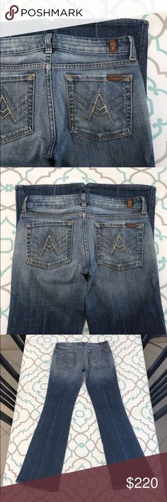 "💙👖Beautiful! 7FAM A Pocket Jeans!👖💙28 5/6 31"" 💙👖Beautiful 7 For All Mankind Jeans👖💙 A Pocket Style. Gold A's with Bling. 1 missing rhinestone. Tag Size 28 (5/6). 7 FAM Run Small! Fit Like 27 (3/4)! 31"" Inseam. 8"" Rise. 24.75"" Across Back. Great Stretch. Medium Blue Wash. Medium Heavy Fading. Light Factory Distress on Pockets & Hems. Hemmed. Very Nice. Very Very Good Used Condition. LOVE! 7FAMK! Anthro! Anthropologie! Ask me any questions! : ) 7 For All Mankind Jeans Boot Cut"