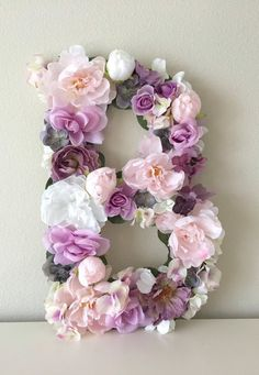 Floral Letter Flower Letter Large Flower Letter by BegoniaRoseCo