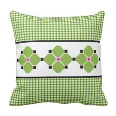 Gingham and Flowers Indoor/Outdoor Pillow in Green