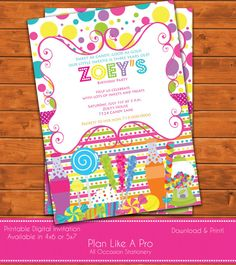 Candyland Invitations Candy land Birthday Invitation Candy