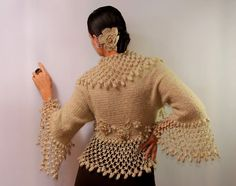 A Change Is Gonna Come / Champagne Bolero Shrug Knit by lilithist, $385.00