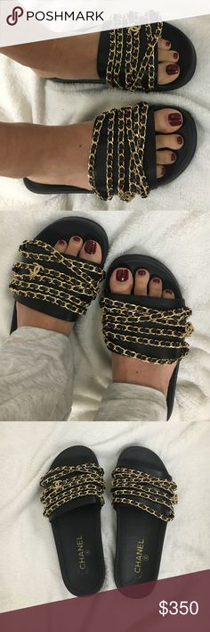 Chanel Leather Chain Slides Black Gold Brand new, never worn. Without tags. Price is firm so do NOT ask! Everything you see is included. Price is low to sell fast. I don't answer dumb questions on here. If you want same or next day shipping, get Amazon prime lol. I am a flight attendant, I am away more than I am home. If purchased please expect the standard 5 days to ship that Posh allows. Of course, if I am home I will ship faster. NO TRADES!!!!!! CHANEL Shoes Slippers