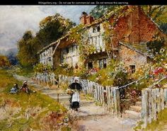 Cottages - a row of cottages with a figure and other children playing - William Stephen Coleman