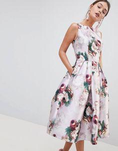 Chi Chi London Midi Dress in Floral Print 7d5cb6262