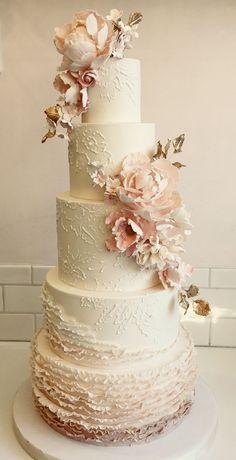 Vanilla Bake Shop - Wedding Cakes    Ivory flower wedding cake