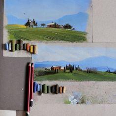 Еще пара малюток на завтра. На этих маленьких этюдах будем отрабатывать основные приемы техники, учиться смешивать цвета, сочетать их с бумагой, подбирать палитру. До встречи завтра в #kalachevaschool !! #учимсярисоватьпастелью #pastel #пейзаж