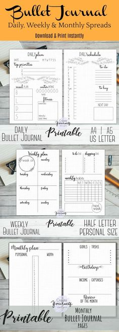 Printable bullet journal - printable dot grid planner, bullet journal insert, bullet journal printable, A4, A5, US Letter size planner pages ~ instant download ~ bujo inserts #affiliate #bulletjournalcollection #bujoprintable #bujospreads