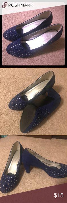 Selling this Navy blue with rhinestone heels on Poshmark! My username is: scb503. #shopmycloset #poshmark #fashion #shopping #style #forsale #Lane Bryant #Shoes