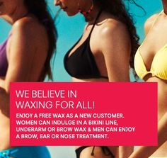 First time guests receive a FREE WAX!   Women: FREE Bikini Line, Underarm, or Brow  Men: FREE Brow, Ear, or Nose  *State ID required. Fleming Island Florida 904 297 7777