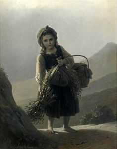 """Peasant Girl Carrying Wood And Flowers"", by German artist - Johann Georg Meyer von Bremen (1813-1886), Oil on canvas."