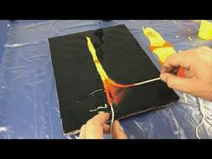 Acrylic String Pull Abstract Flames Painting - YouTube
