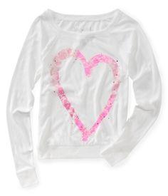 Long Sleeve Lace Heart Crew Sweatshirt