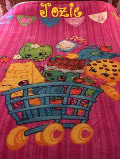 Shopkins Shopping Cart blanket x Plush Blanket Personalized by CACBaskets on Etsy Block Fonts, Long Car Rides, Kids Blankets, Sewing Studio, Shopkins, Sleepover, Fireworks, Plush, Monogram
