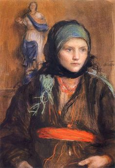 Girl with Scarf - Teodor Axentowicz