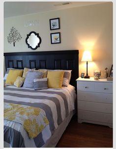 Gray Master Bedroom Design Ideas: Grey And Yellow Master Bedroom! Grey Bedroom Design, Bedroom Colors, Bedroom Designs, Yellow Master Bedroom, Bedroom Black, Master Room, Home Bedroom, Bedroom Decor, Bedroom Ideas