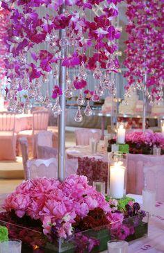 Love the Candles| Preston Bailey | Hanging Dendrobium Orchids & Teardrop Crystals Centrepiece