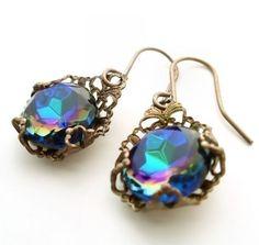 La Dolce Vita Filigree Earrings. Art Deco style dangle earrings - vintage filigree jewelry, blue drop earrings, Great Gatsby style