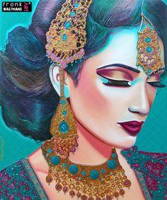 Prachtig turquoise Oosters schilderij! Modern portret. Dit schilderij is geschilderd in de kleuren: turquoise, groen, goud, koper, bruin, purper, lila, violet, magenta, fuchsia, donker blauw. Het reliëf is ingelegd met verschillende materialen. Het schilderij voert je mee in oosterse sferen. De warme exotische kleuren doen paradijselijk aan. Ter bescherming voorzien van een glanzende vernislaag. AFMETINGEN: 120 x 100 cm