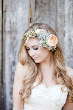 Lovely Fresh Floral Headpiece: Peach English Garden Rose, White Andromeda, White Roses, Gray Succulents, Lace Leaf Dusty Miller