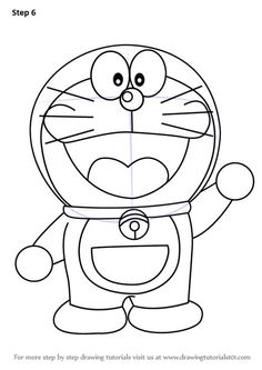 Learn How to Draw Doraemon (Doraemon) Step by Step : Drawing Tutorials Cartoon Pencil Drawing, Cartoon Drawing For Kids, Easy Pencil Drawings, Easy Cartoon Drawings, Cute Easy Drawings, Art Drawings For Kids, Pikachu Drawing Easy, Simple Drawings For Kids, Disney Character Drawings