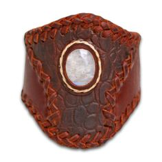 #leather #Bracelet with #moonstone #tribal #spirit
